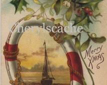 Digital Image Download Antique Merry Christmas XMas Postcard Boat Anchor Throw Rings Holly Re-purpose Crafts Altered Art
