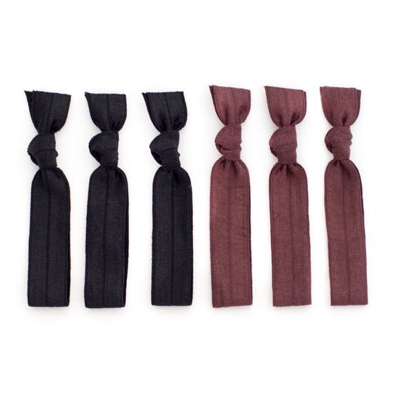 The Professional Hair Tie Package - 6 Black Brown Neutral Elastic Solid Color Hair Ties that Double as Bracelets by Mane Message on Etsy