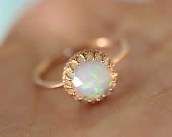 Rose Cut Opal In 14K Gold Ring, Recycled Gold, Eco Friendly Gold, Engagement Gold Ring - Made To Order