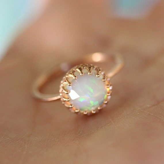 Rose Cut Opal In 14K Gold Ring Recycled Gold Eco Friendly