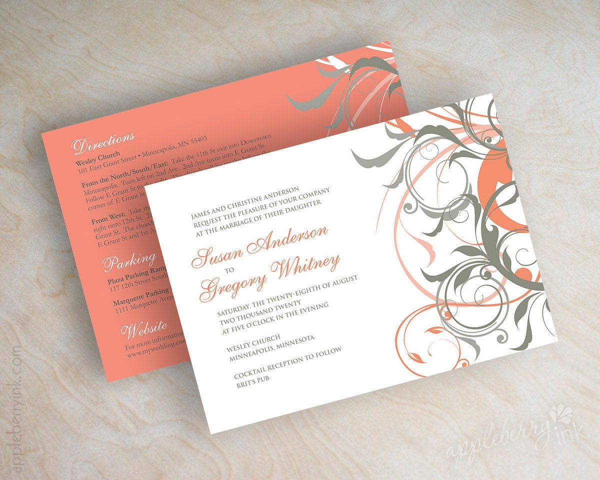 Wedding Invitations Coral Color: Coral And Gray Wedding Invitations Coral And Grey Wedding
