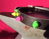 Pink, Yellow and Green Spiky Leather Collar
