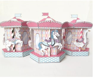 Carousel Merry Go Round Box - cupcake box, gift box, party favor or party decoration - Pink - Instant download Printable PDF Kit