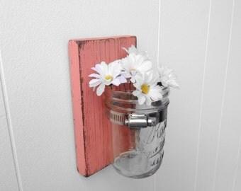 Wall sconce wood vase mason jar Coral - single vase