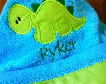 Turquoise and Lime Green Dinosaur Hooded Towel