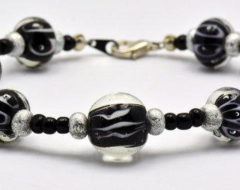 Sale / On Sale / Clearance Jewelry / Jewelry on Sale / Marked Down / Dance the Night Away Black and White Glass Beaded Bracelet - BR00138
