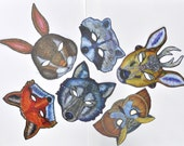 Woodland Mask / Package of Ten / Deer, Wolf, Owl, Raccoon, Fox, Rabbit / Christmas Party Favors