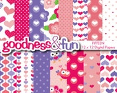 Buy 2, Get 1 FREE - Valentine's Day Digital Papers - Digital Valentine's Day Paper Pack - Instant Download