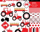 Buy 2, Get 1 FREE - Red Tractor Clipart - Digital Tractor Clipart - Instant Download