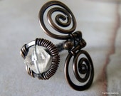 Copper Swirl Ring with Crystal Wire Wrapped Ring