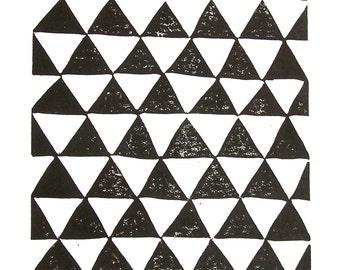LINOCUT PRINT - geometric pattern - black triangle abstract block print 8x10