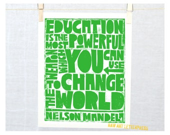 Nelson Mandela Education Quote, Wall Art, Classroom Decor, Teacher Gift, Graduation