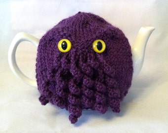 Made to Order-Purple Curly Cthulhu Tea Cosy - a warm and washable sweater for your teapot