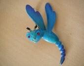 Dragonfly Brooch JJ Bright Blue Enamel