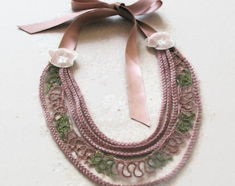 Lace Collar Necklace, Statement Choker, Mauve Tatting Lace Bib Necklace, Mothers Day Gift, Unique Item, OOAK, Gift for Her