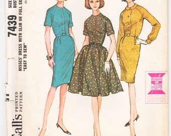 Vintage 1964 McCall's 7439 Sewing Pattern Misses' Dress with Slim or Full Skirt Size 14 Bust 34