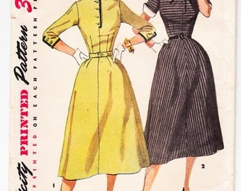 Vintage 1953 Simplicity 4467 Sewing Pattern Misses' One-Piece Dress with Detachable Collar and Cuffs Size 12 Bust 30