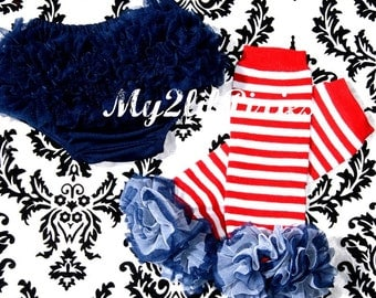 Patriotic Leg warmers and Ruffle bloomer. Navy blue Ruffle Bloomer, Diaper Cover, Baby girl Striped Leg warmers. Baby girl leg warmer.