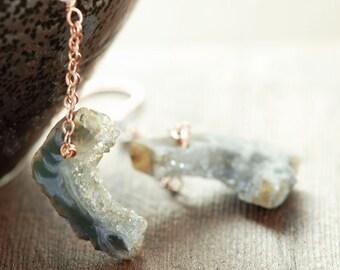 Druzy Dangle Earrings 14k Rose Gold Fill, Rustic Earthy Jewelry, Drusy Earrings