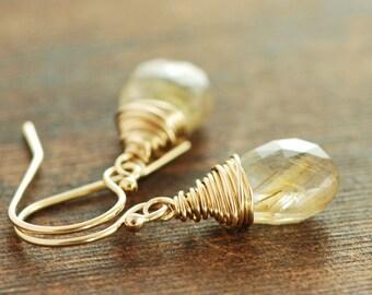 Golden Rutilated Quartz Earrings, Wire Wrap Gold Gemstone Earrings, Rustic Modern Jewelry