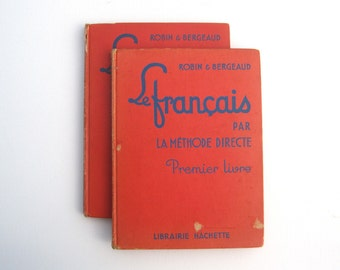 Le Francais par la Methode Directe, TWO vintage French language textbooks, Illustrated, 1940s