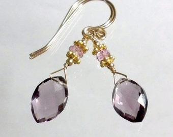 Purple Drop Earring, Purple Quartz Earring, Purple Briolette Earring