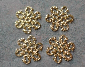 Vintage Components-Filigree- Vintage Findings- Brass- Gold Plated- Set of 4- Costume- Jewelry Parts