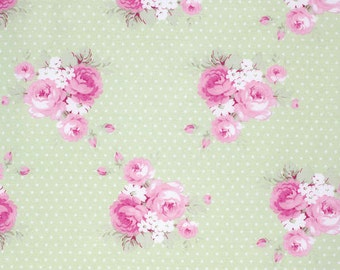 Green Dottie Rose  PWTW089-GRN Cotton Fabric by Tanya Whelan Free Spirit Slipper Roses