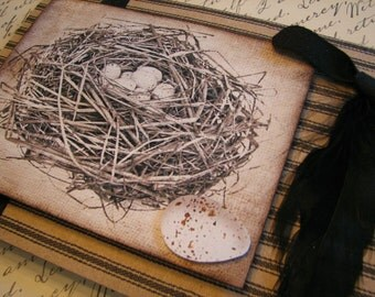Handmade card, All Occasion, With Birds nest, On Natural Craft Paper