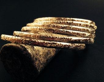 Handmade Sterling Silver Floral-Patterned Bangle Bracelets - Set of Six!