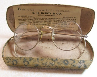 Antique Eyeglasses Eye Glasses Spectacles Round Steel Wire Frame Measurements