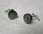 COMPASS Cuff links - Steampunk - Geekery - Retro - Functioning Floating Compass - Vintage Style - Formal Wear