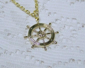 SHIPS WHEEL Pendant - GOLD - At the Helm Necklace - Nautical - Boating - Maritime
