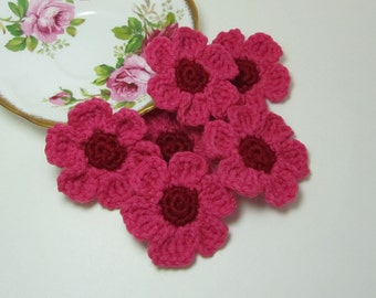 Crochet Flowers Appliqués Camellia Pink Rosy Red Embellishments Set of 6 Scrapbooking Crafting