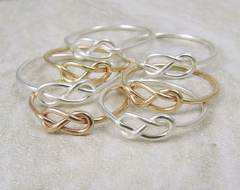 Wedding Sale / Six Knot Rings / Infinity Rings / Tie the Knot Ring / Bridesmaids Gift / Rose Gold Ring / Silver Ring
