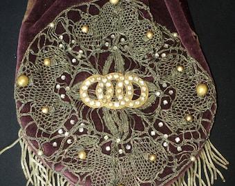 SALE Handmade Abuergine Velvet Purse Metallic and Beaded Applique Paste rhinestones with bullion fringe