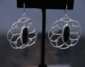 Artisan Earrings Sterling Silver and Black Onyx
