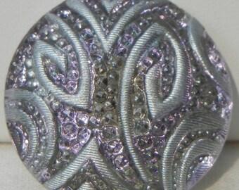 Embossed Czech Glass Button