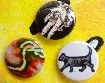Science Fun 3 Pack Fan Art Pop Art 1 1/2 inch pin button Cat Skeleton Ebola Astronaut