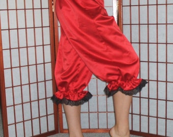 Ready now!  Womens Large RED Satin Bloomers Black Lace