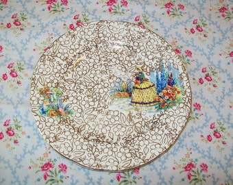 SALE - 1940s dessert plate, Crinoline Lady, gold floral on white, England