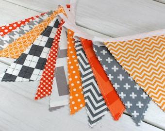 Banner Bunting, Photography Prop, Fabric Flags, Photo Prop, Birthday Decoration, Nursery Decor - Gray, Orange, Grey, Chevron, Dots,Geometric