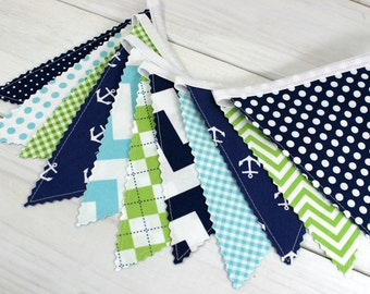 Banner, Anchor Bunting, Nautical Nursery Decor, Photography Prop, Fabric Flags - Anchors, Aqua Blue, Navy Blue, Lime Green, Chevron, Dots