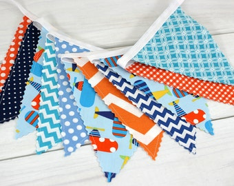 Bunting Flags, Fabric Banner, Boy Nursery Decor, Garland, Pennant - Airplanes, Navy Blue, Planes, Teal Blue, Orange, Chevron, Gingham