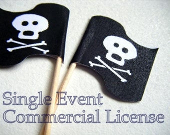 Single Event COMMERCIAL LICENSE for Any Flag Cupcake Picks. Party Food Picks, Cake toppers, fondue picks, cheese sticks