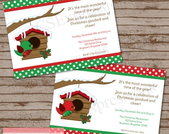 Polka Dot Chirstmas Bird Party Invitation