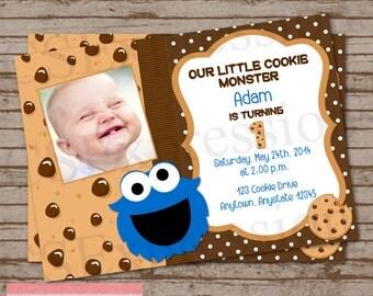 Little Blue Monster Photo Birthday Party Invitation