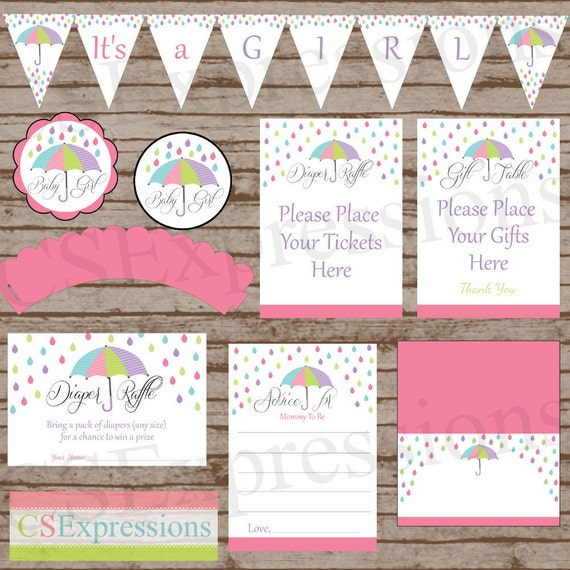 Umbrella baby shower printable party package for Baby shower decoration packages
