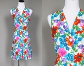 1990s Romper Vintage 90s Floral Rayon Playsuit White Purple Pink Green Orange and Blue Sleeveless Large