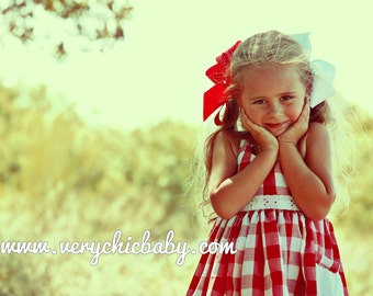 Red Gingham Dress, Gingham Dress for Girls, Gingham Dress, Country Girl Dress, Cowgirl Birthday Outfit, Gingham Dress